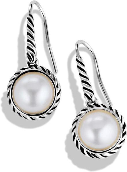 David Yurman Cable Pearl Drop Earrings in Silver (Silver