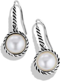 David Yurman Cable Pearl Drop Earrings in Silver (Silver