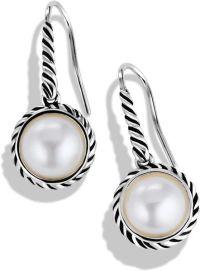 David Yurman Cable Pearl Drop Earrings in Silver (Silver ...