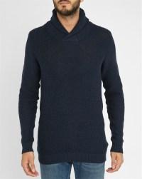 Men'S Navy Shawl Collar Sweater