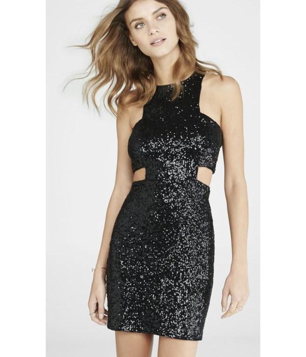 Lyst - Express Black Sequined Cut- Mini Dress