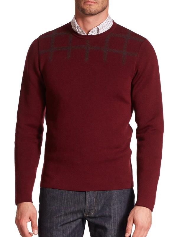 Ferragamo Stretch Wool Crewneck Sweater In Red Men Lyst