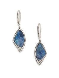 Meira t Boulder Opal, Diamond & 14k White Gold Drop ...