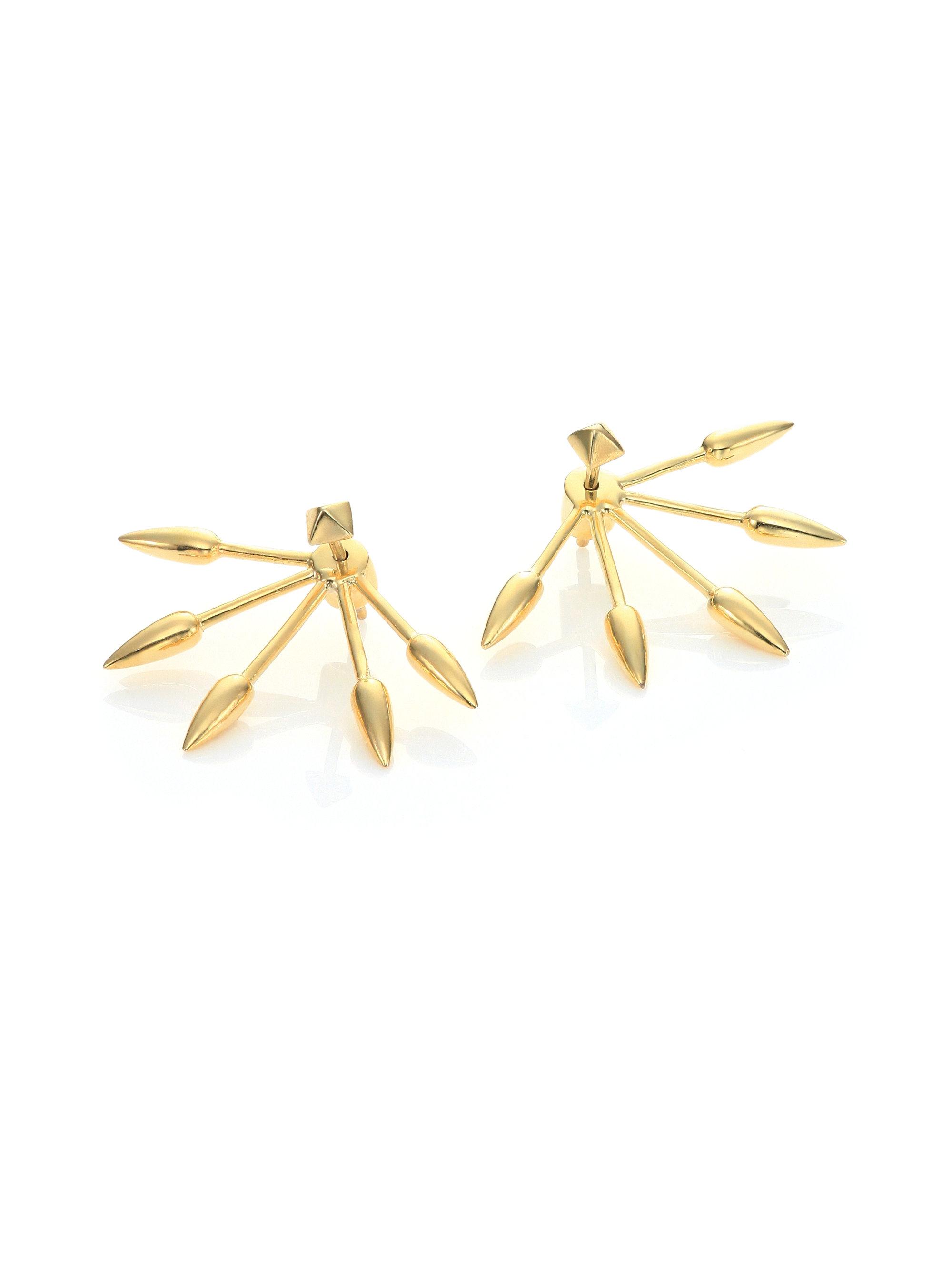 Five Spike Stud Earrings Lyst Pamela Love Five Spike Stud