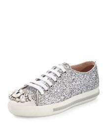 47d0eb2ff861 Miu miu Glitter Crystal CapToe Sneaker in Metallic Lyst