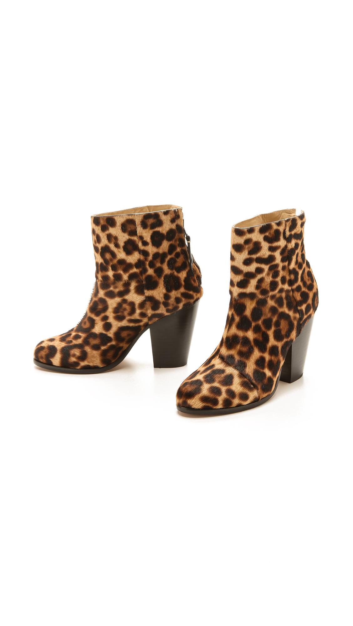 d8cf3ebed1a4 Rag Bone Newbury Leopard Print Calf Hair Ankle Boots Lyst