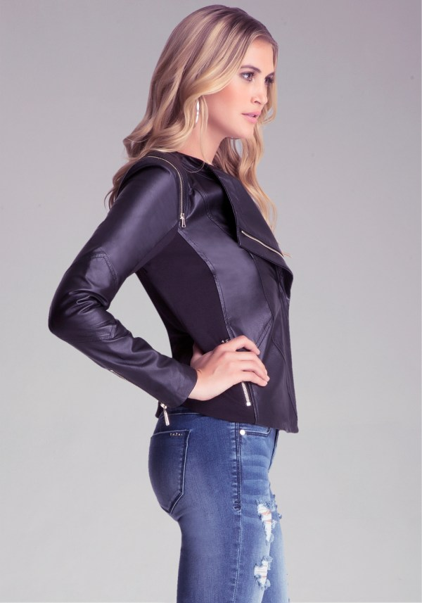 Bebe Christa Leather Jacket In Black Lyst