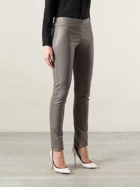 Joseph Leather Leggings In Gray Grey Lyst
