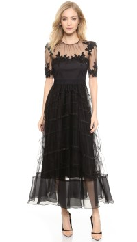 Notte by marchesa Tea Length Dress With Tulle Skirt ...