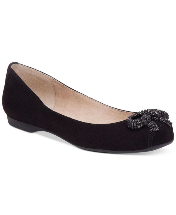 Jessica Simpson Morella Embellished Ballet Flats In Black Micro Suede Lyst