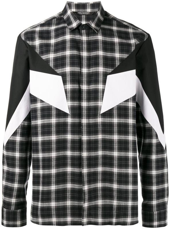 Lyst - Neil Barrett 'modernist' Plaid Shirt In Black