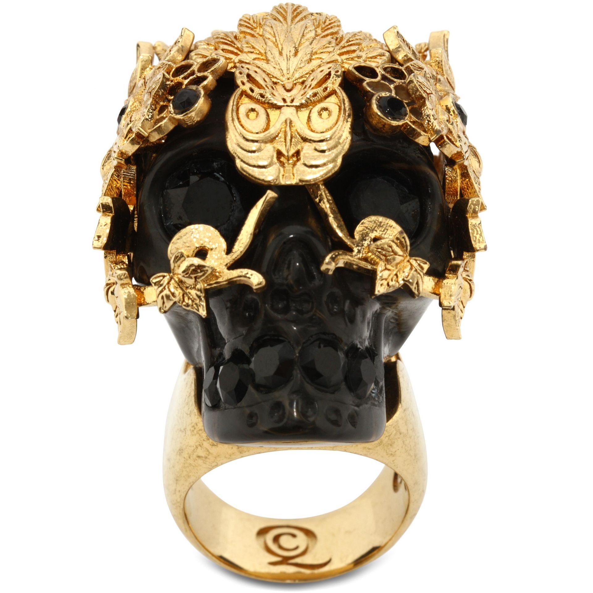 Alexander Mcqueen Skull Owlet Ring In Black Lyst