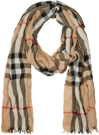 Burberry Beige Check Crinkle Scarf in Natural for Men | Lyst