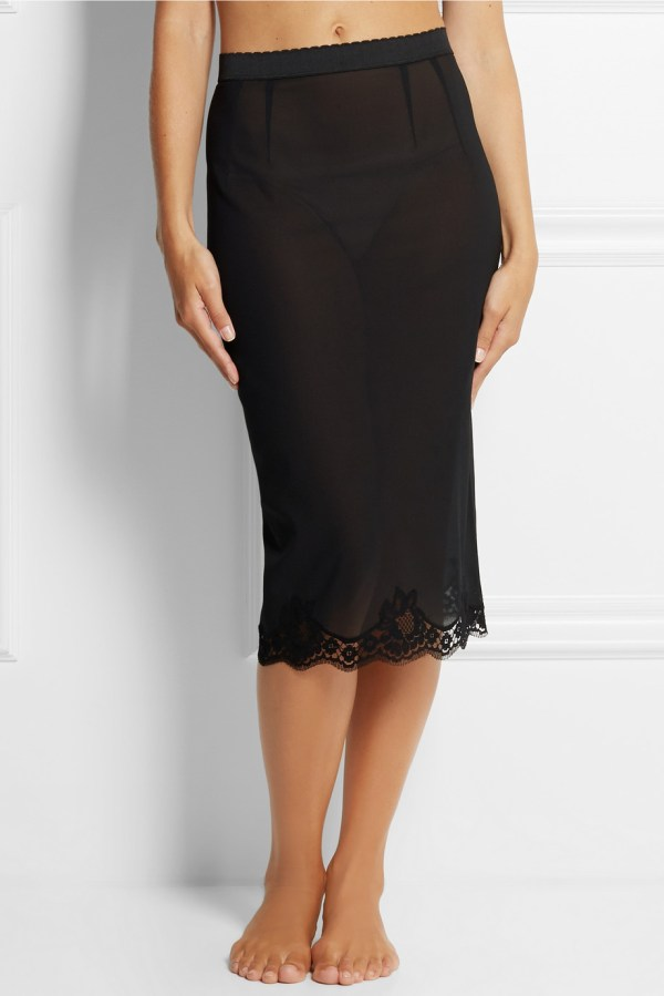 Black Silk Lace Half Slips