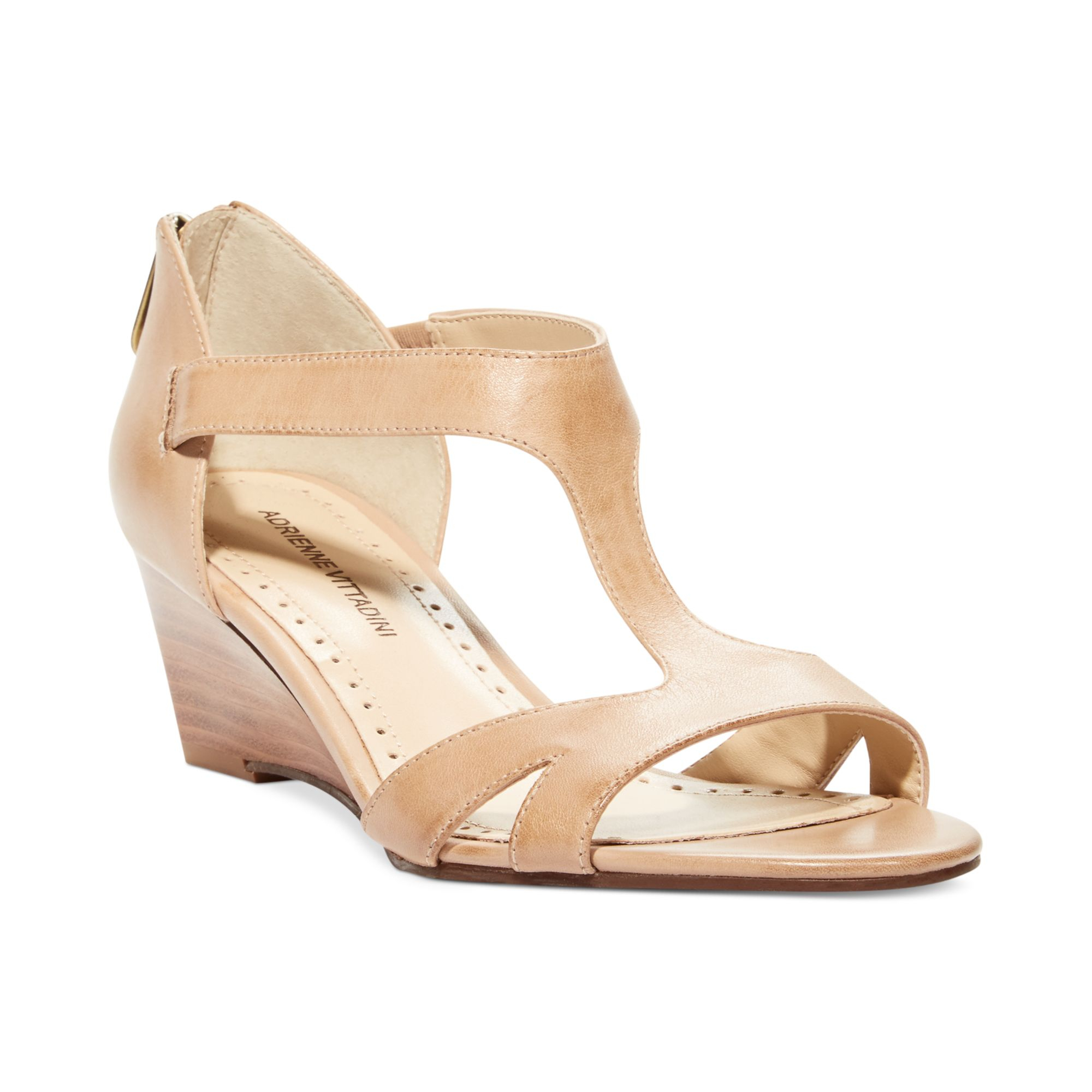 Adrienne Vittadini Cissy Mid Wedge Sandals In Natural Lyst