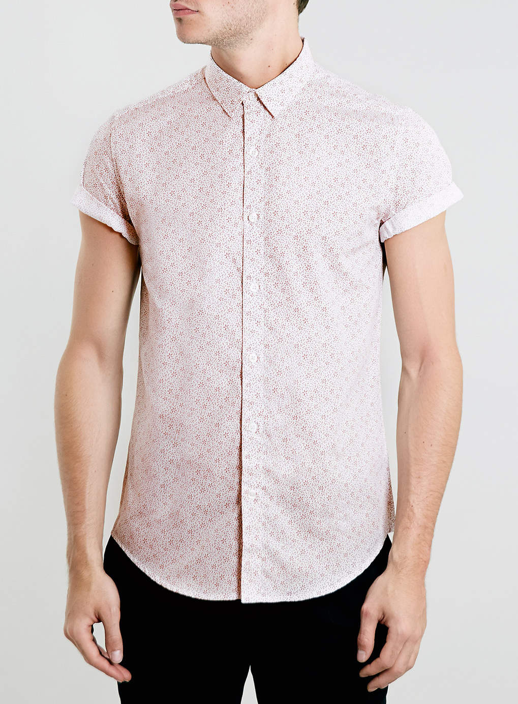 Topman White and Burgundy Floral Print Short Sleeve Shirt in Red for Men White  Lyst