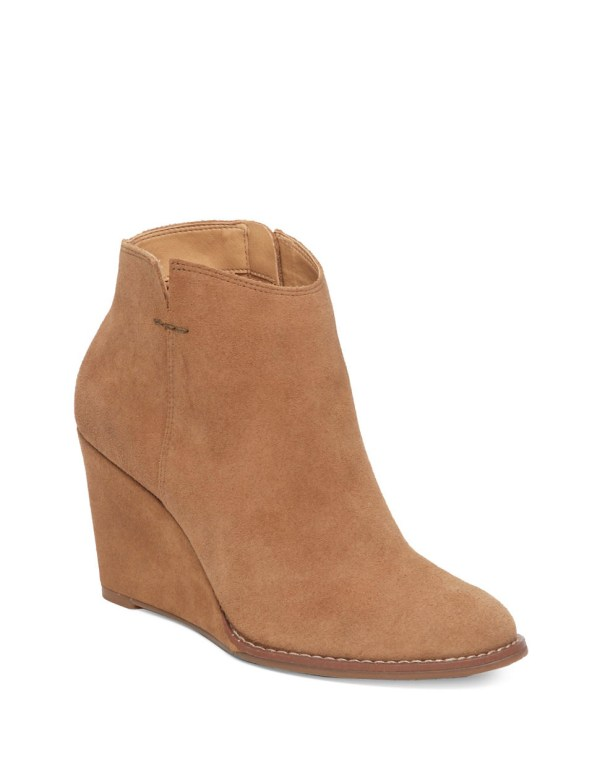 Lucky Brand Validas Suede Wedge Bootie In Brown Lyst