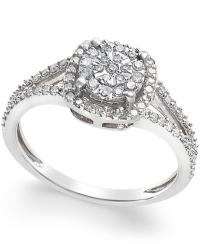 Macy's Cushion-cut Diamond Promise Ring (1/4 Ct. T.w.) In ...