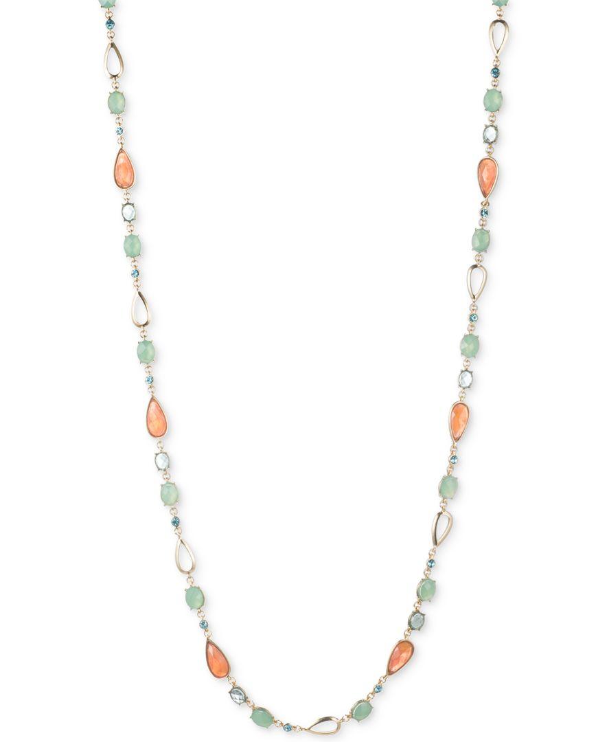 Anne klein Gold-tone Multi-color Bead Long Length Necklace