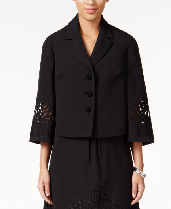 Lyst - Kasper Crepe Three-button Embroidered Jacket In Black