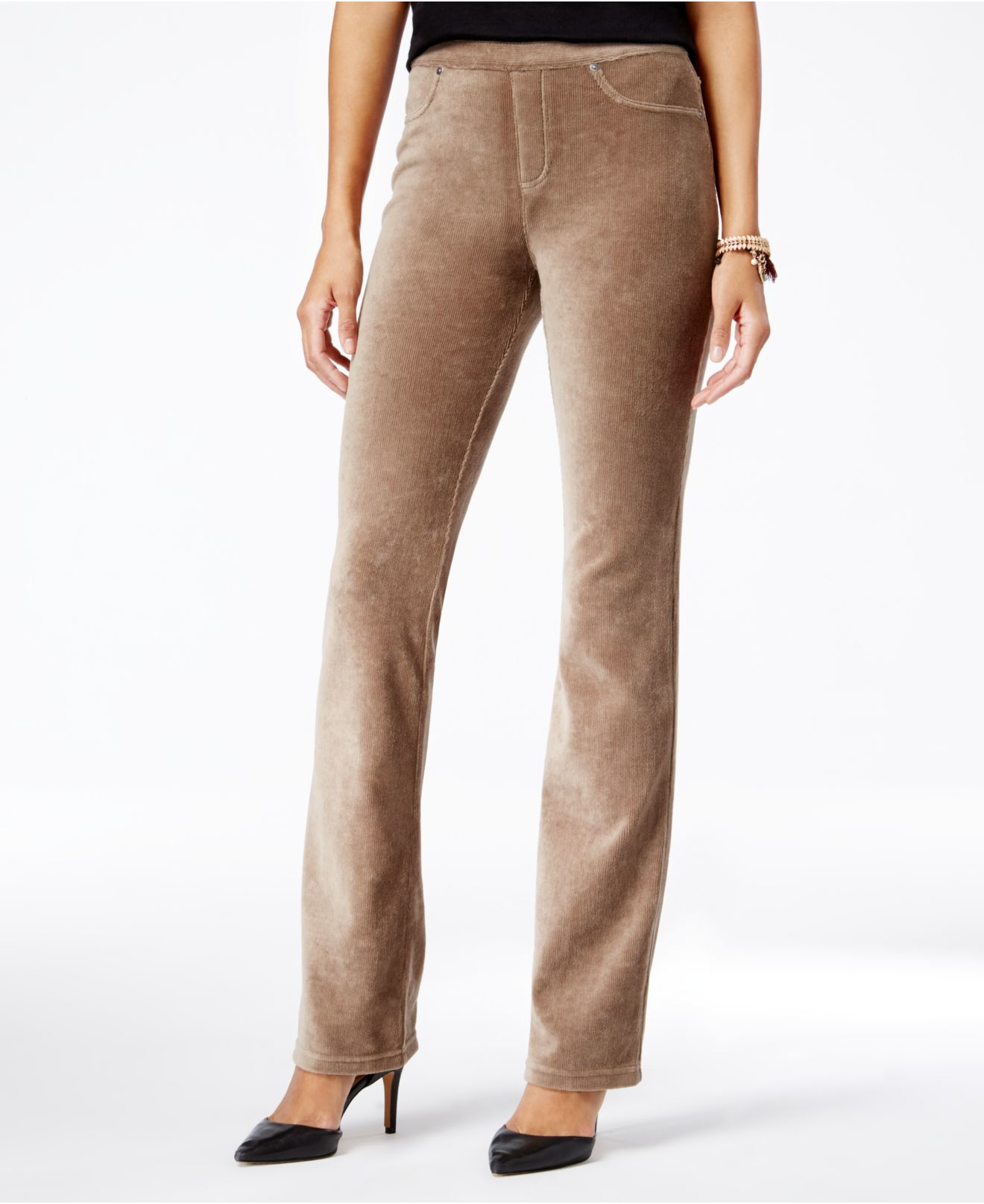 Lyst Style Amp Co Corduroy Bootcut Pull On Pants In Brown