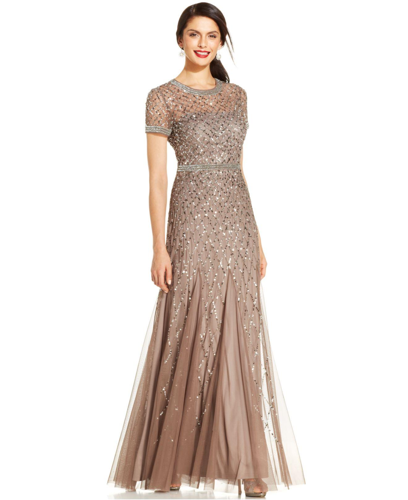 Lyst  Adrianna Papell Shortsleeve Embellished Pleated Gown in Brown