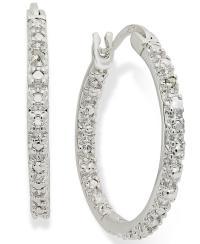 Macy's Sterling Silver Earrings, Diamond Accent Hoop ...