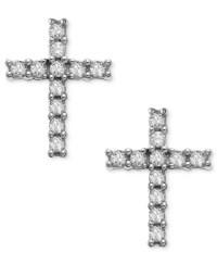 Macy's 14k White Gold Earrings, Diamond Accent Cross Stud