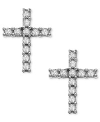 Macy's 14k White Gold Earrings, Diamond Accent Cross Stud ...