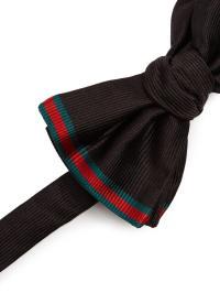 Lyst - Gucci Web-striped Silk Bow Tie in Black for Men