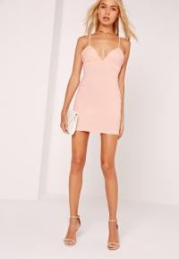 Lyst - Missguided Petite Strappy Plunge Bodycon Dress Nude ...