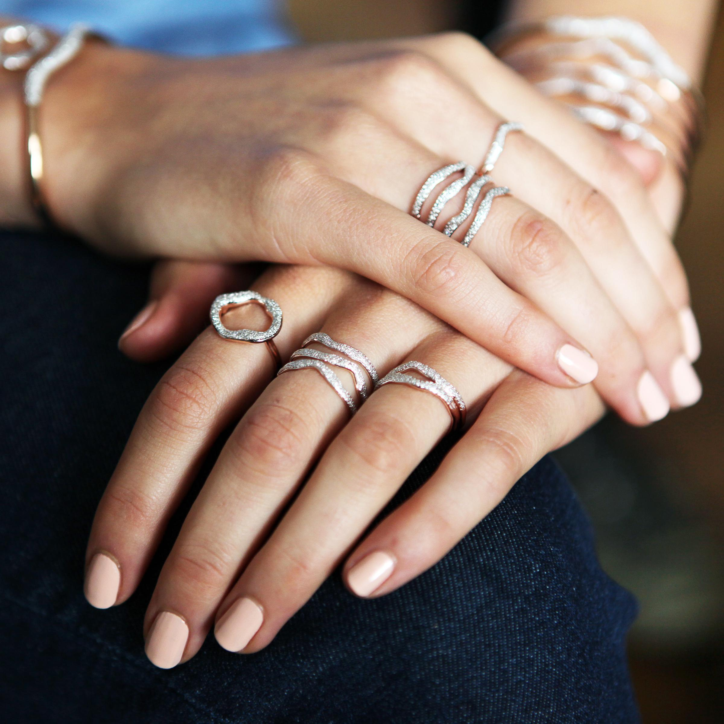 Monica Vinader Riva Diamond Wave Triple Ring in Pink - Lyst