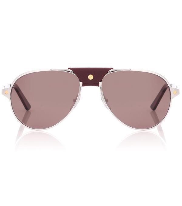 Cartier Santos De Aviator Sunglasses In Metallic
