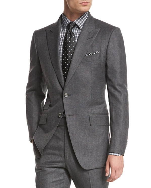 Tom Ford 'connor Base Mini-textured Two-piece Suit In Gray Men Lyst