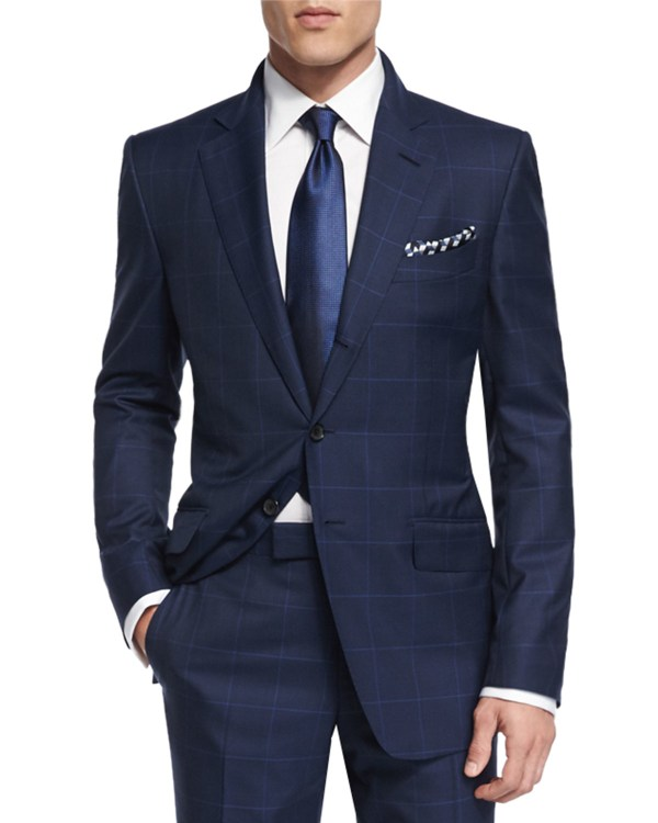 Tom Ford 'connor Base Plaid Suit In Blue Men Lyst