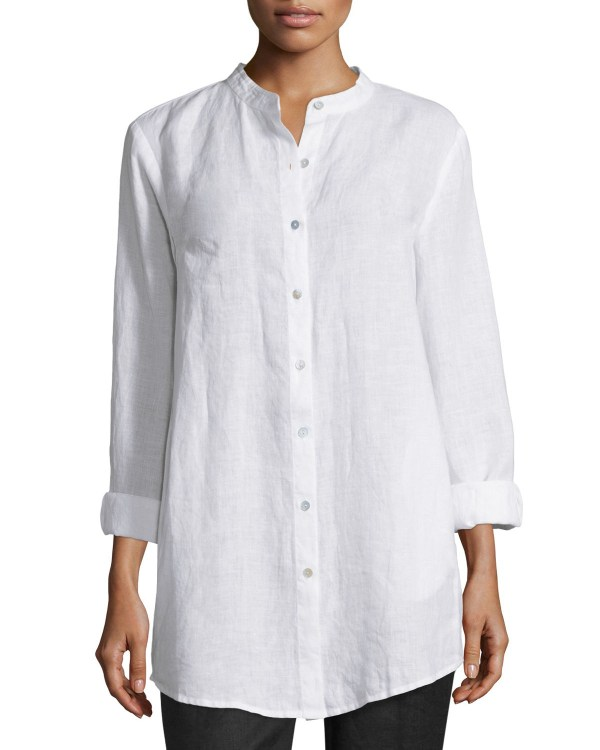7aa03114821 Eileen Fisher Long-sleeved Linen Tunic Top In White Lyst