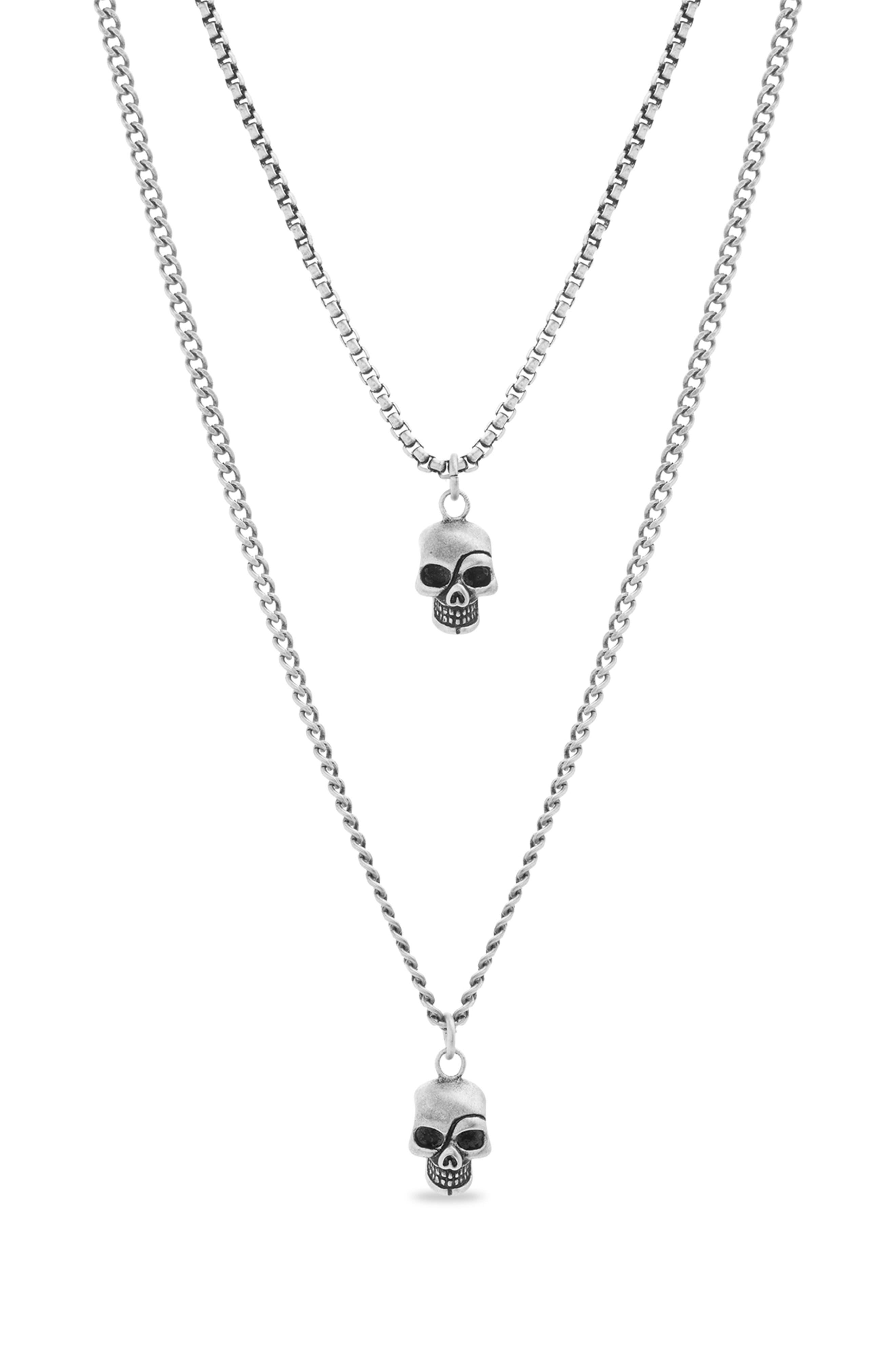 Steve Madden Skull Duo Pendant Necklace In Metallic Silver