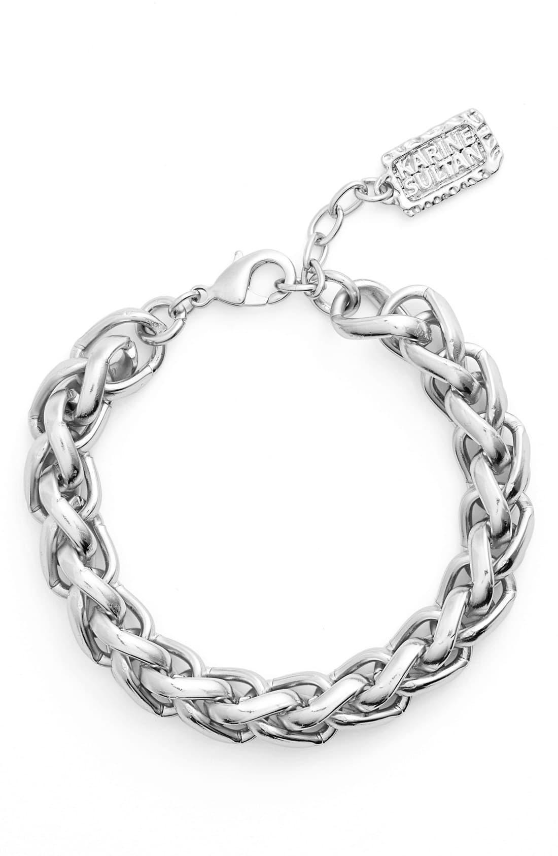 Karine Sultan Braided Link Bracelet In Metallic