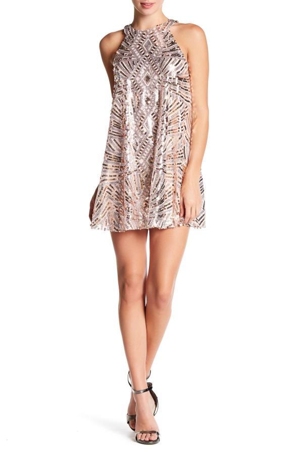 City Triangles Sequin Sleeveless Halter -line Dress Lyst