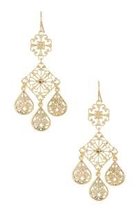 Yochi Trio Filigree Leaf Earrings in Metallic (GOLD ...