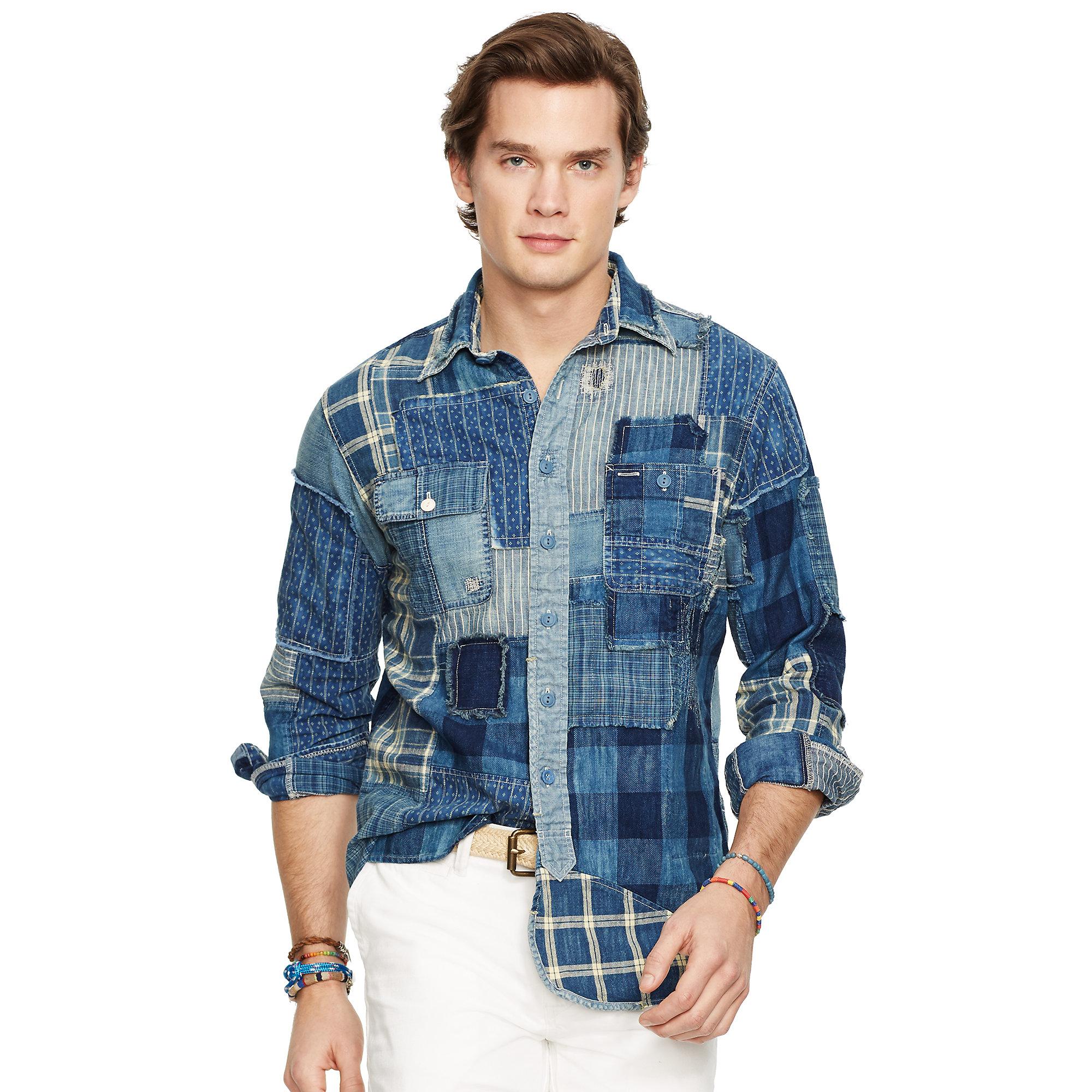 Polo ralph lauren Indigo Patchwork Sport Shirt in Blue for Men  Lyst