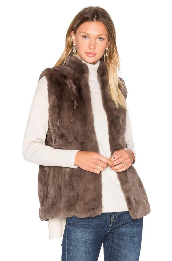 America Rabbit Fur Vest In Blue Lyst