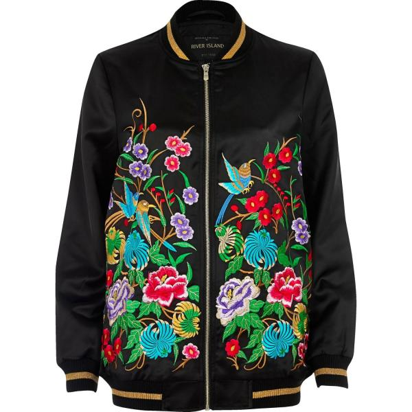 69f9f184a Lyst River Island Black Embroidered Satin Bomber Jacket - Year of ...