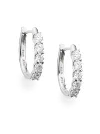 "Effy Diamond & 14k White Gold Hoop Earrings/1"""" in Silver ..."