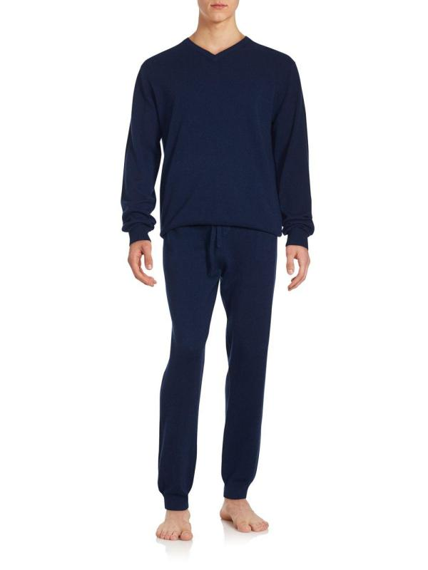 Saks Avenue Two-piece Cashmere Lounge Set In Blue