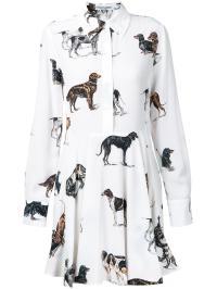 Stella Mccartney Dog Print Shirt Dress in White - Lyst
