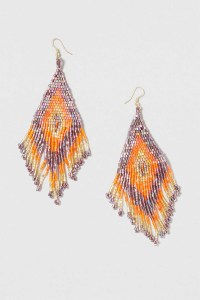 Lyst - Topshop Triangle Beaded Drop Earring in Orange