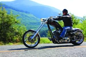 big dog motorcycles riding through the mountains