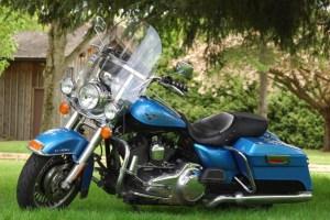 vintage motorcycle meet old blue Harley