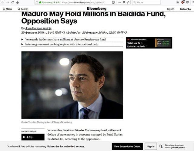 Artigo da Bloomberg sobre Carlos Vecchio